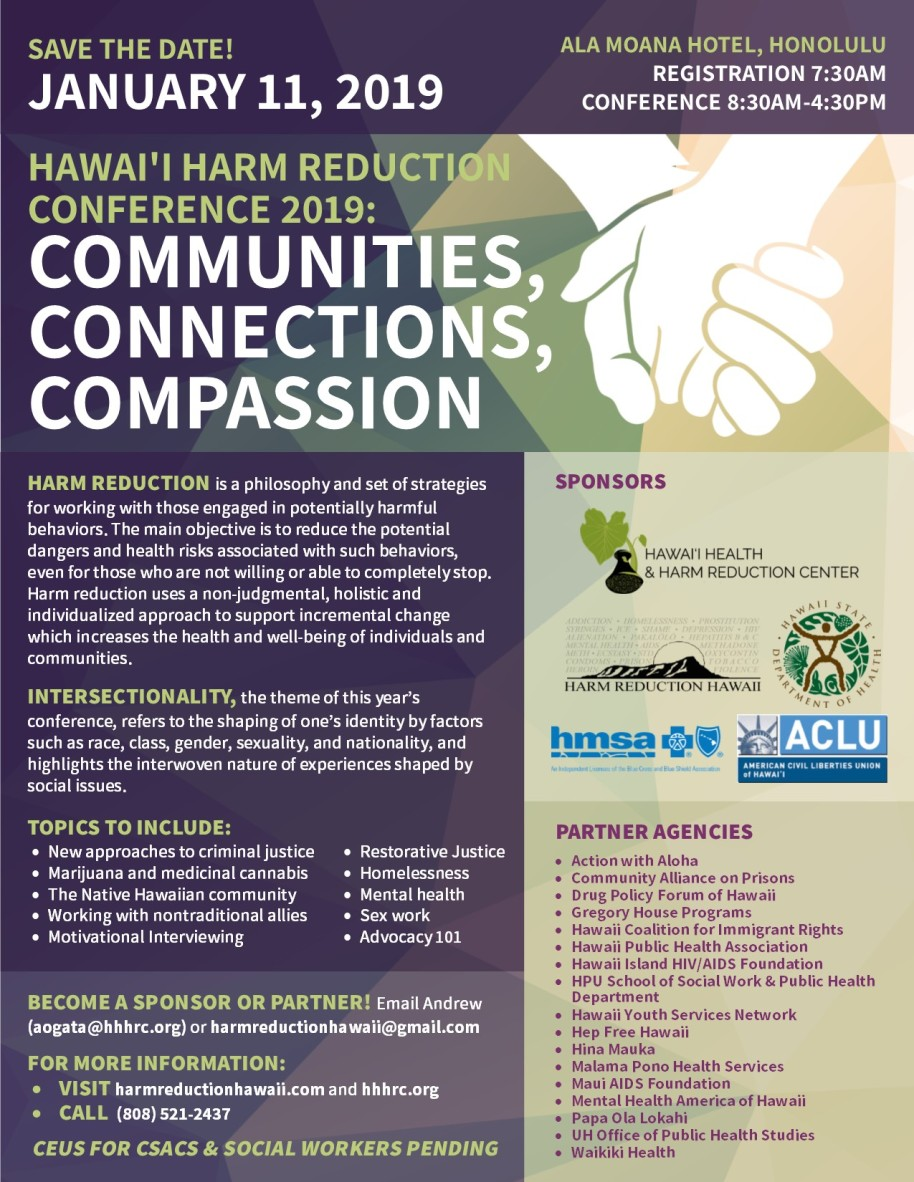 hawai i harm reduction conference 2019 communities connections